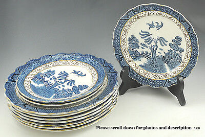 """Nice Booths Porcelain Bread & Butter/Salad Plate""""Real Old Willow"""" Pattern Gilt"""