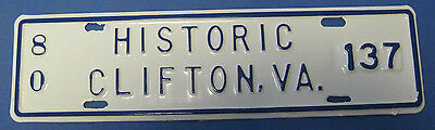 1980 Historic Clifton, Virginia license plate never used mint