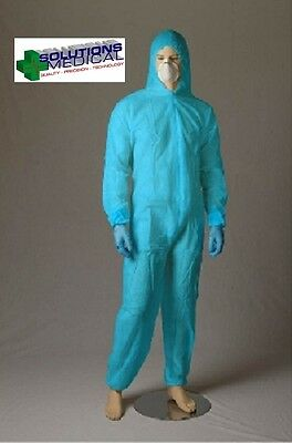 Protective Coveralls Disposable Overalls X 5 Blue (Xl)