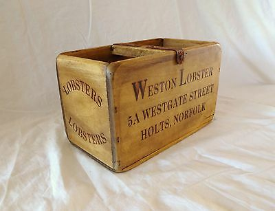 Vintage antiqued wooden box, crate, trug, WESTON LOBSTER FISH BOX