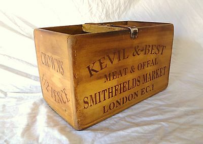 Vintage antiqued wooden box, crate, trug, SMITHFIELDS MARKET BUTCHERS BOX
