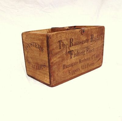 Vintage antiqued wooden box, crate, trug, RAMSGATE ROYAL FISHING FLEET BOX