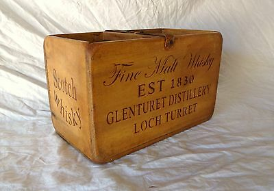 Vintage antiqued wooden box, crate, trug, FINE WHISKY