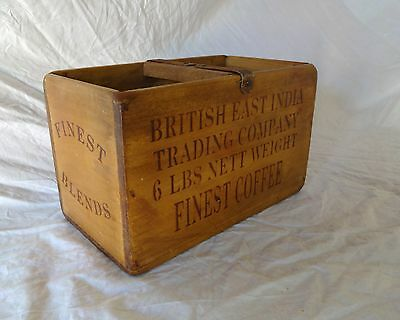 Vintage antiqued wooden box, crate, trug, BRITISH EAST INDIA COFFEE IMPORTS