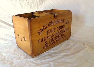 Vintage antiqued wooden box, crate, trug, ENGLISH BROWN ALE