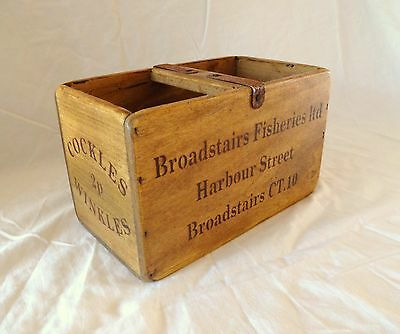 Vintage antiqued wooden box, crate, trug, BROADSTAIRS FISHERIES BOX
