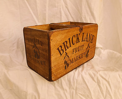 Vintage antiqued wooden box, crate, trug, LONDON BRICK LANE FRUIT MARKET BOX