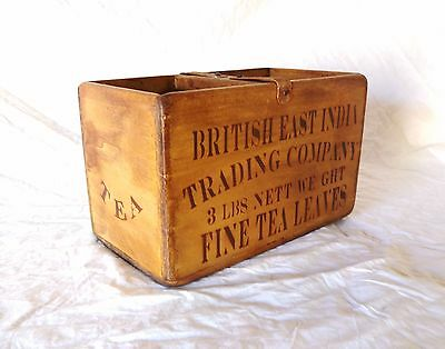 Vintage antiqued wooden box, crate, trug, BRITISH TEA BOX