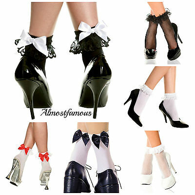 Vintage Lace Ruffle Frilly Ankle Socks Fashion Ladies White Retro uk stock