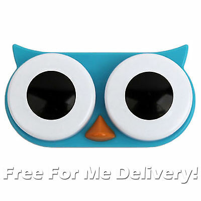 BLUE OWL CONTACT LENS CASE - Quirky Small Lens Travel Case **FREE DELIVERY**