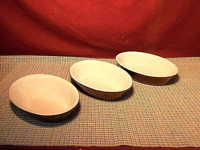 Vintage Hall Brown & White Set of 3  Small Oval Individual Casseroles