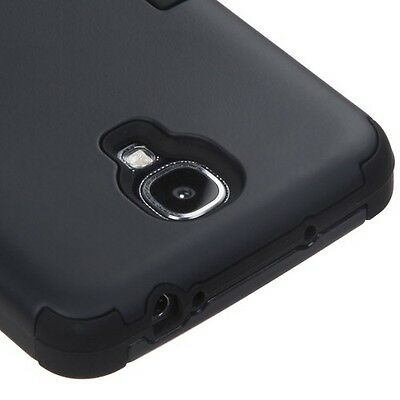 For Samsung Galaxy S4 - HARD & SOFT RUBBER HIGH IMPACT HYBRID CASE COVER BLACK