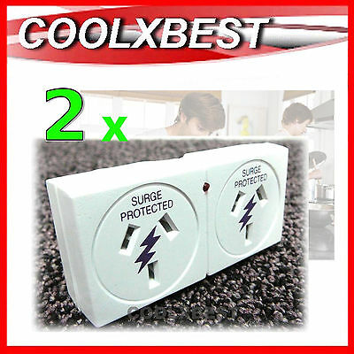 2 x CLICK SURGE PROTECTION 2 OUTLET POWER ADAPTOR 240v PC TV AUDIO VIDEO AV