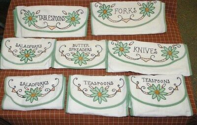 Set 8 Antique Hand Embroidered silver flatware linen pouches holders NEAT!