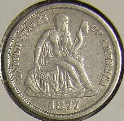 1877 Cc Silver Seated Liberty Dime,   Af 921