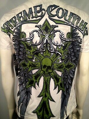 $30 Xtreme Couture Affliction Winged Skull Cross Tattoo Mens T Tee Shirt S-Xl