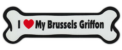 Dog Bone Shaped Car Magnets: I LOVE MY BRUSSELS GRIFFON