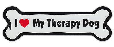 Dog Bone Shaped Car Magnets: I LOVE MY THERAPY DOG