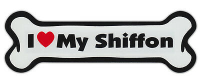 Dog Bone Shaped Car Magnets: I LOVE MY SHIFFON (BRUSSELS GRIFFON SHIH TZU)
