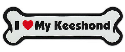 Dog Bone Shaped Car Magnets: I LOVE MY KEESHOND