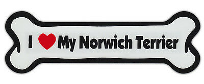 Dog Bone Shaped Car Magnets: I LOVE MY NORWICH TERRIER