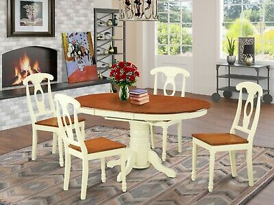 5-PC OVAL DINETTE KITCHEN DINING TABLE w/ 4 WOOD SEAT CHAIR IN BUTTERMILK CHERRY