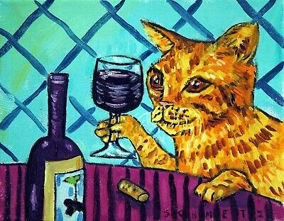 orange tabby cat at the wine bar signed art gifts print 8x10