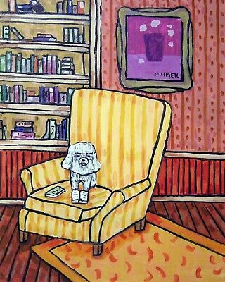 BICHON FRISE READING A BOOK picture dog art print 8x10 impressionism new animals