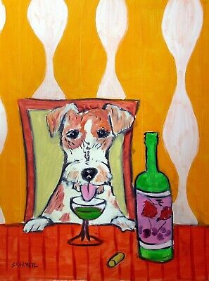 jack russell terrier ABSINTHE 8x10 animals impressionism signed artist