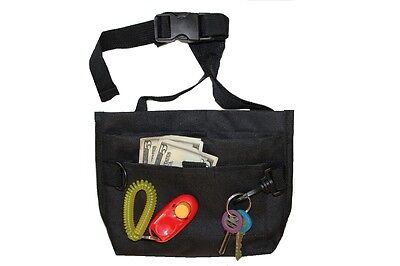 DOG TRAINING TREAT BAG, Pet Bait Bag, Dog Obedience Pouch + FREE CLICKER Black