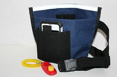 DOG TRAINING TREAT BAG, Bait Bag, Dog Obedience Pouch + FREE CLICKER - Dark Blue