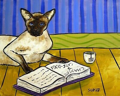 SIAMESE cat art PRINT poster modern folk library reading JSCHMETZ 13x19