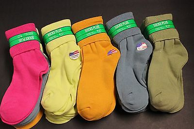 5 Pairs White Pastel Ankle Bobbie T Cuff Casual Socks Women's 9-11 Crew Stretch
