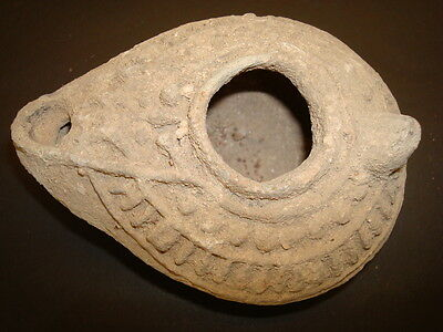ancient Islamic terra cotta unique oil lamp  big decorated quality