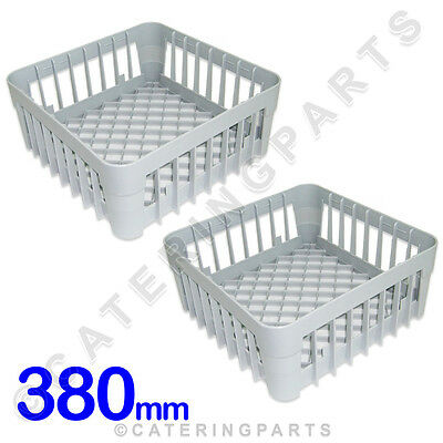 2 X 380 X 380 GLASS-WASHER OPEN GLASS CUP RACK SQUARE BASKETS 380mm DISH-WASHER