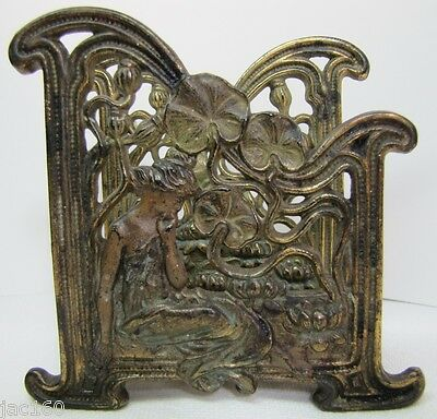Antique Art Nouveau Maiden Lillies Letter Holder exquisite design ornate details