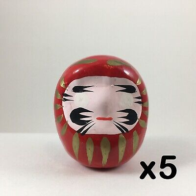 "5 PCS. Japanese 2""H Handmade Wish Making Good Luck Red Daruma Doll Made in Japan"