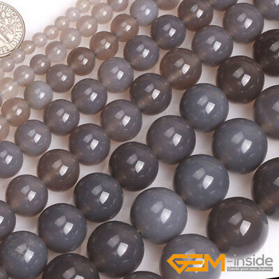 Natural Stone Gray Agate Gemstone Round Loose Spacer Beads For Jewelry Making YB