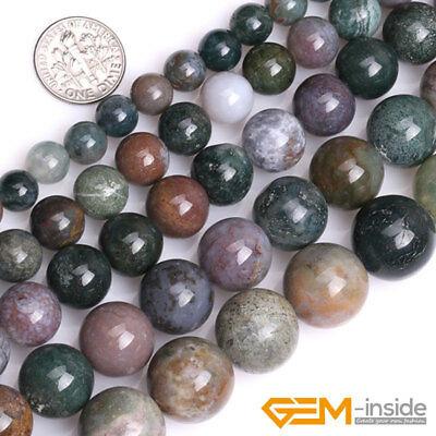 """Natural Indian Agate Gemstone Round Loose Spacer Beads For Jewelry Making 15"""" YB"""