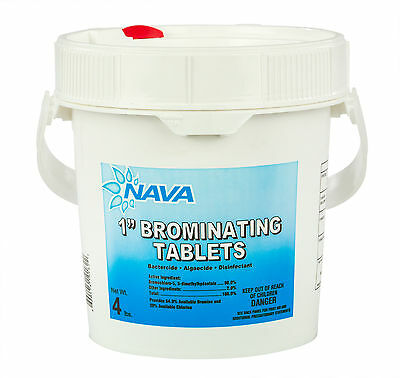 """NAVA 1"""" Inch Swimming Pool & Spa Bromine Sanitizer Tabs Tablets - 4 lbs"""
