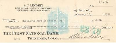 1922 FIRST NATIONAL BANK CHECK TRINIDAD COLORADO AGUILAR Mayor ARTHUR LINDSEY