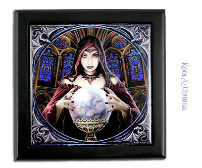 """Anne Stokes Square Trinket Jewellery Box: """"Crystal Ball"""" Gothic Pagan Sorceress"""