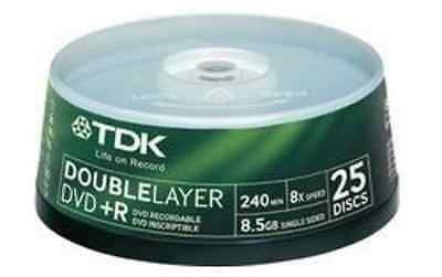 TDK DVD+R 8.5GB 8x Speed 240min Recordable DVD Double Layer D/L Spindle Pack 25