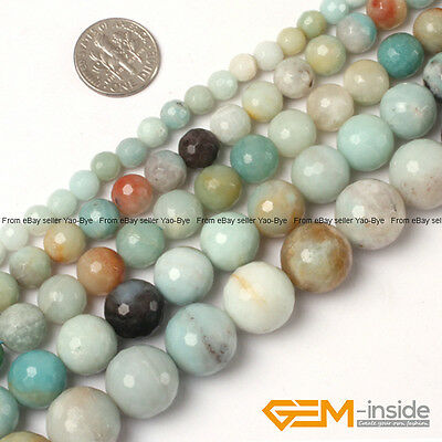 Natural Colorful Amazonite Gemstone Faceted Round Beads For Jewelry Making 15""