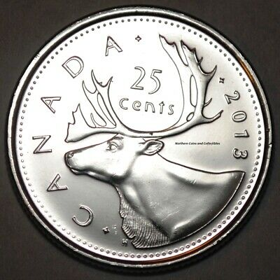 Canada 2013 25 cents Nice UNC from roll - BU Canadian Caribou Quarter