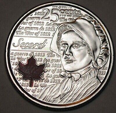 Canada 2013 Coloured Secord 25 cents Nice UNC from roll BU Canadian Quarter