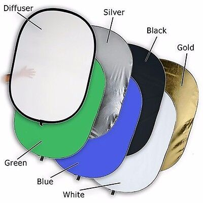 "24x36"" 7in1 Studio Reflector Collapsible Disc Soft/Silver/Gold/Black Backdrop"