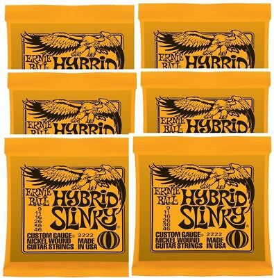 Ernie Ball 2222 Nickel Hybrid Slinky Electric Guitar Strings  9 - 46 x 6 Packs