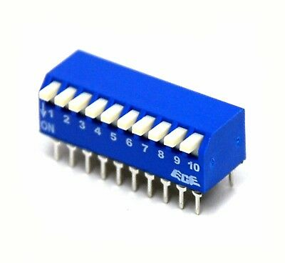 50pc 10P 10 Positions Side Piano Right Angle Type DIP Switch RoHS Taiwan