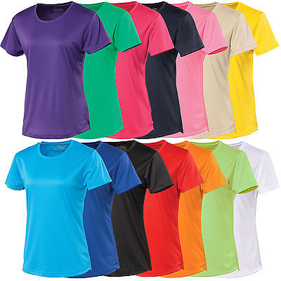 Ladies AWDis Tee T Shirt Wicking Running Training Breathable Sports Top JC005